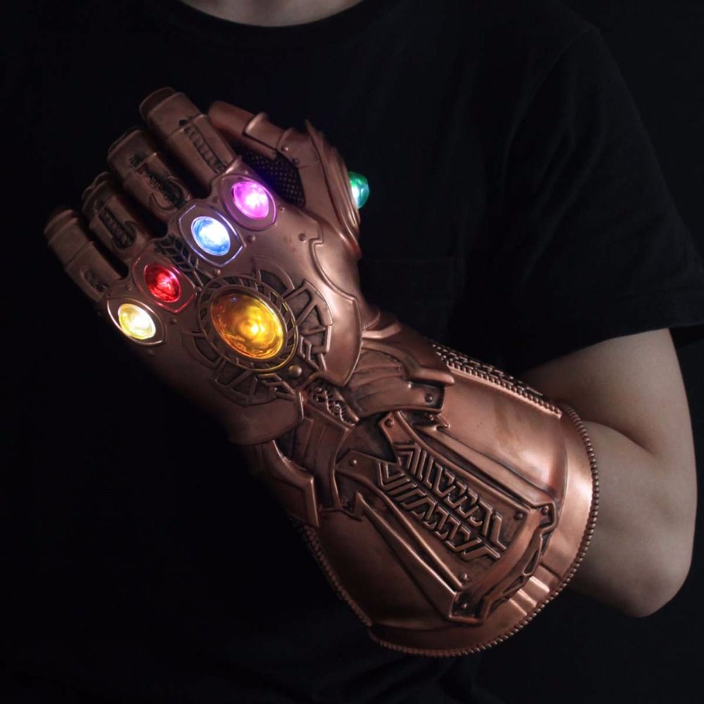 Lumière LED Thanos Infinity gantelet Avengers Infinity guerre Cosplay gants LED PVC figurine modèle jouets cadeau accessoires Halloween