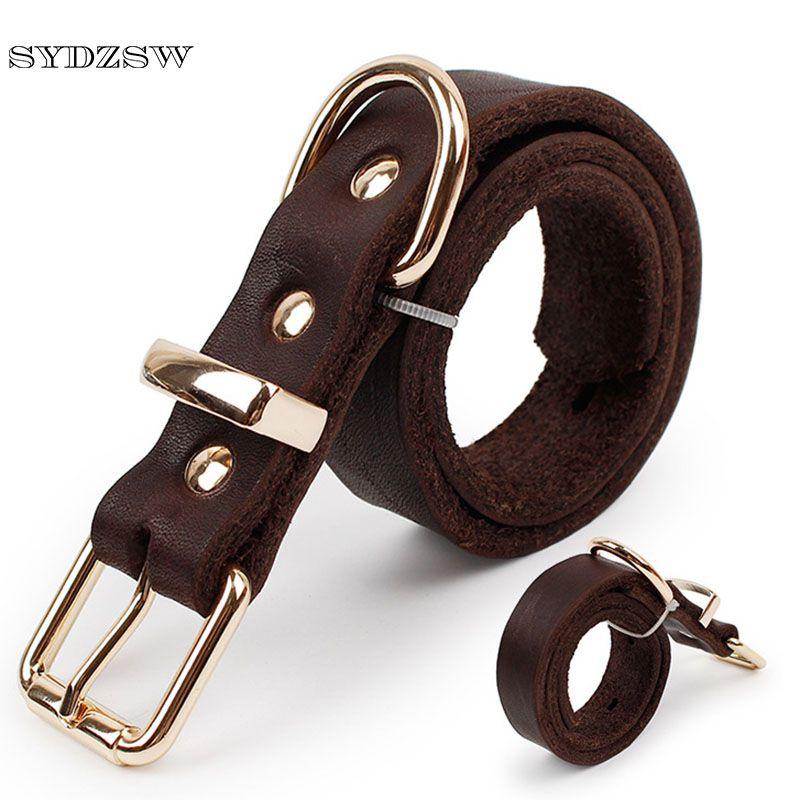 SYDZSW collier de chien en cuir de qualité supérieure pour animaux de compagnie avec boucle en alliage Labrador collier de chien berger allemand grand chien produits marron