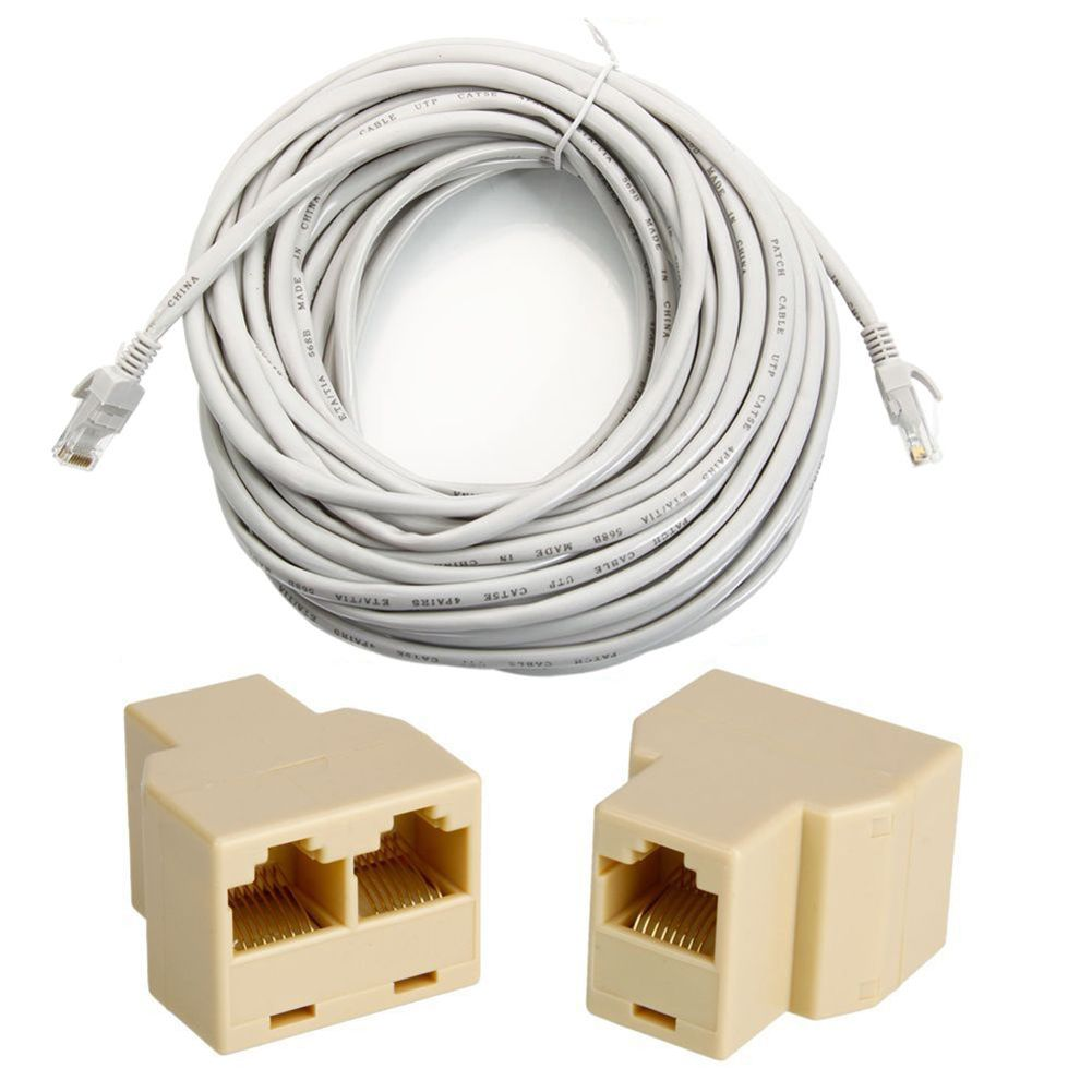 #T31 50'FT 15M CAT5 5E RJ45 Patch Ethernet Network Cable Grey + PC Connector Adapter