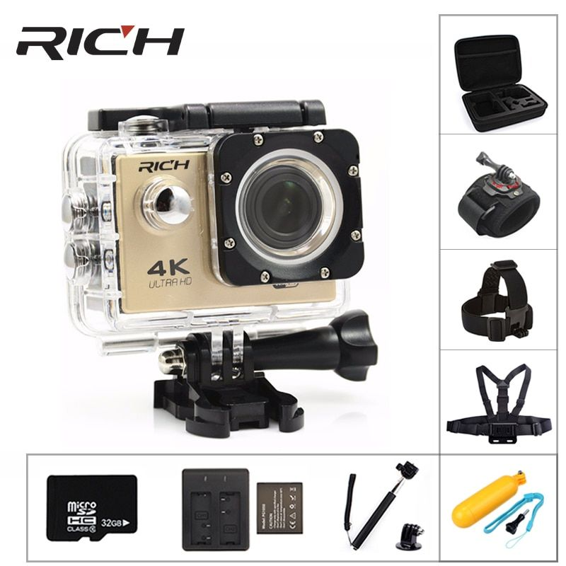 RICH F5 Sport camera WiFi 1080P 170D Len 2.0 LCD Helmet Cam go Underwater pro Waterproof action cameras Camcorder Sport DV style