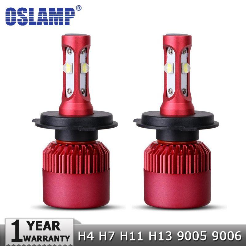 Oslamp H4 H7 H11 H13 <font><b>9005</b></font> 9006 SMD Chips 80W LED Car Headlight Bulb Hi-Lo Beam 9600lm 6500K Auto Led Headlamp Fog Light 12V 24V
