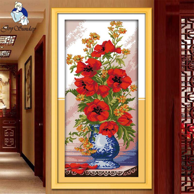 JOIE DIMANCHE, Couture, BRICOLAGE DMC point de Croix, ensembles Pour Broderie kit Pavot Céladon Vase décoration de la maison Compté Point de Croix