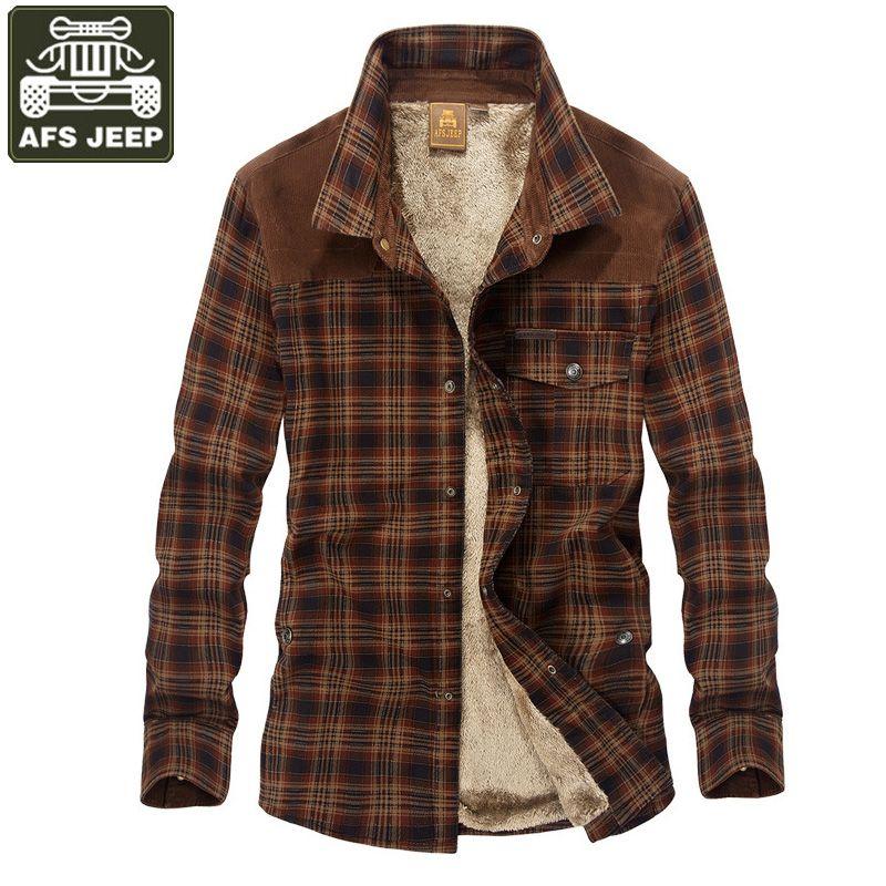 AFS JEEP Brand Shirt Men Casual Shirts Camisa Masculina Fleece Thick Warm Shirts Men Plaid Military Shirt Men Dropshipping M-3XL