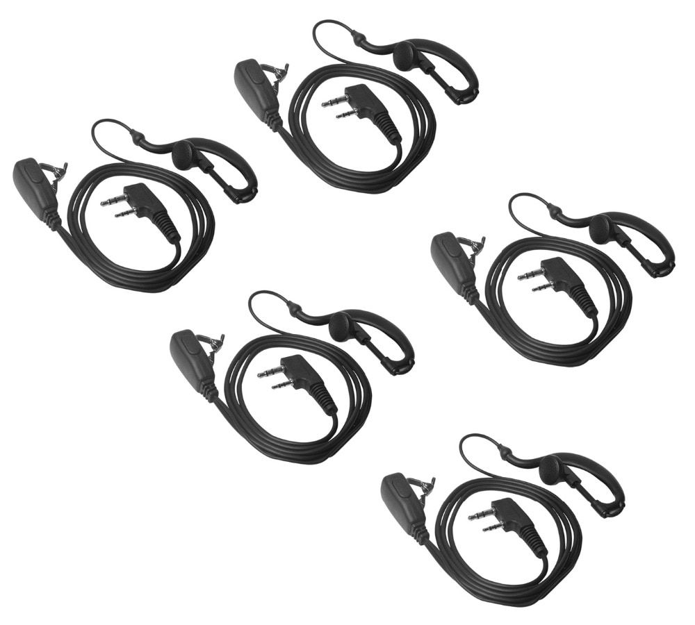 Lseng Walkie Talkie Earpiece 2 Pin K Plug PTT Earphone For Portable Radio Headset Baofeng Accessorie-Pack of 5
