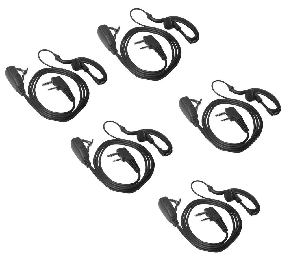 Lseng Walkie Talkie Earpiece 2 Pin K Plug PTT Earphone For Portable Radio Headset Baofeng Accessorie-Pack of 5