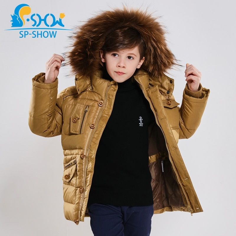 2018 Winter Children's Clothing Boy Coat Luxury Brand Widened Raccoon Fur Cap Thick Fleece Warm Down Jacket For Children Coat