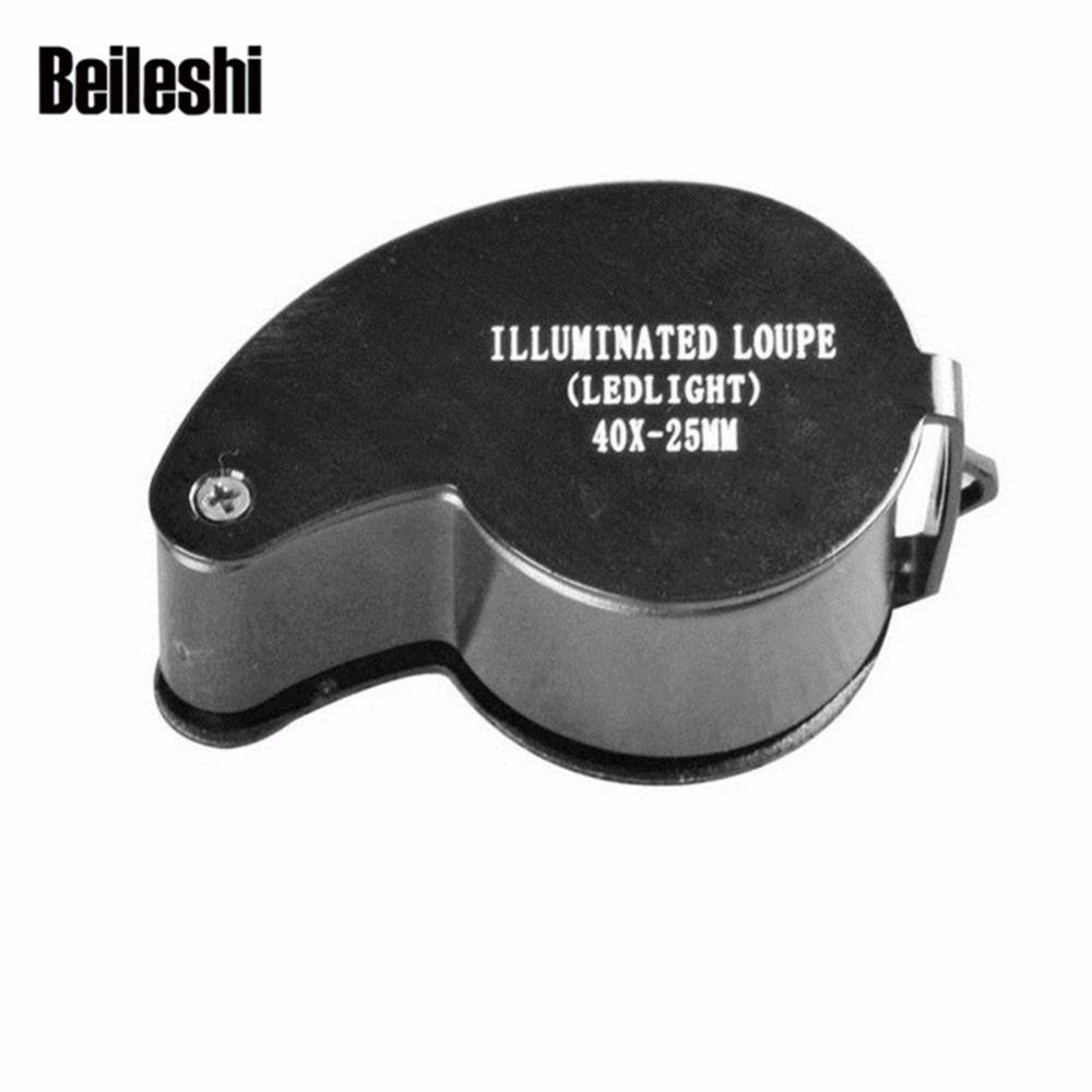 Beileshi Loupe 40X25mm Portable Métal Mini Poche Loupe Bijoutier Loupe LED Boucle Brand new