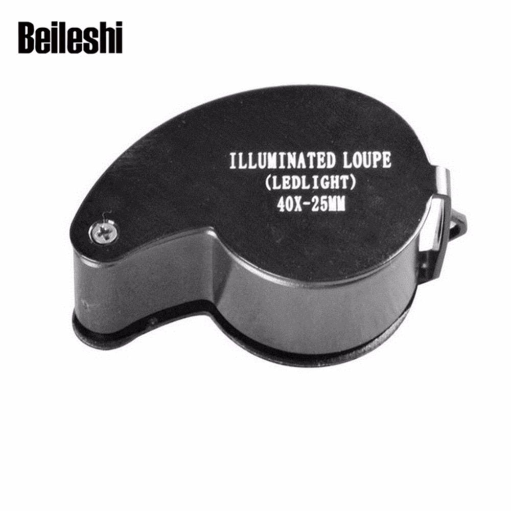 Beileshi Magnifier 40X 25mm Portable Metal Mini Pocket Magnifying  Jeweler Loupe LED Loop Brand new