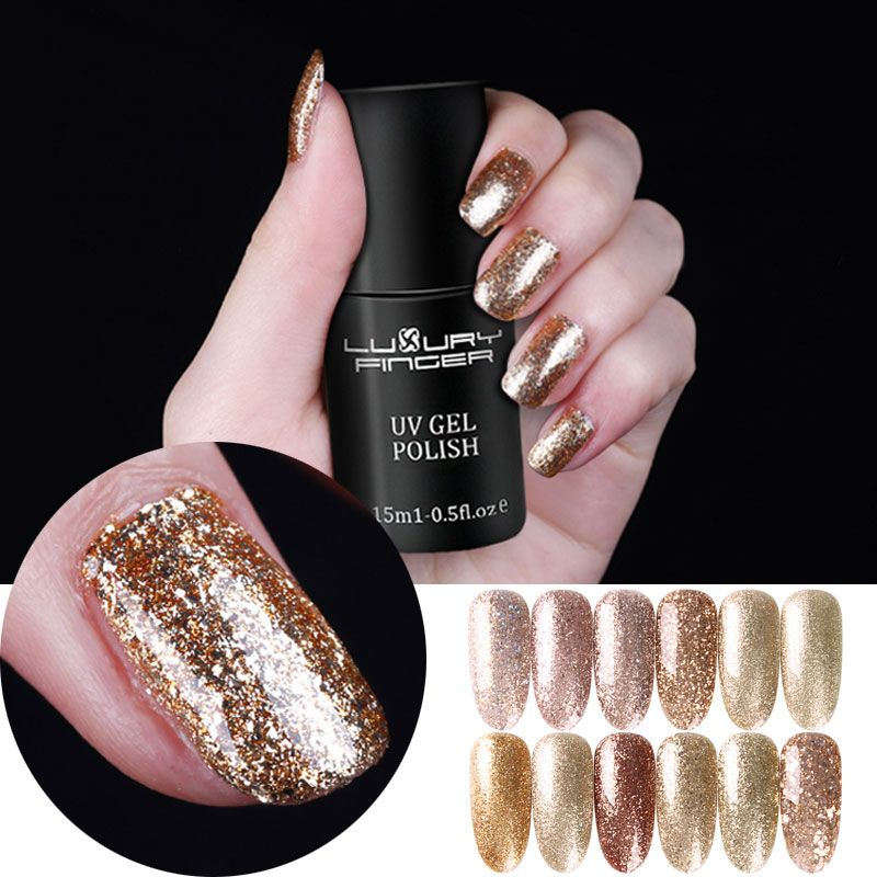 Luxury Finger 15ML Champagne Gold Bling Platinum Glitter UV Gel Sequins Nails Polish Base Top Coat LED UV Pro Manicure Varnish