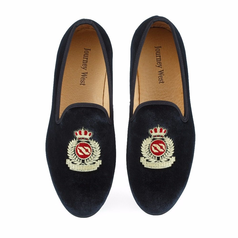 New Fashion Men Velvet Loafers Black Wedding Shoes Prom Dress Shoes Smoking Slippers with <font><b>Crown</b></font> Handmade Men's Flats Size 7-13