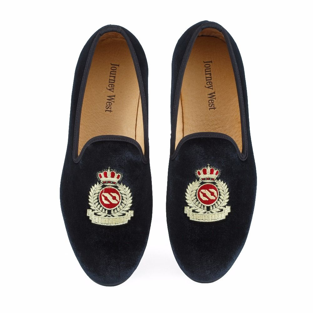 New Fashion Men Velvet Loafers Black Wedding Shoes Prom Dress Shoes Smoking Slippers with Crown Handmade Men's Flats Size 7-13