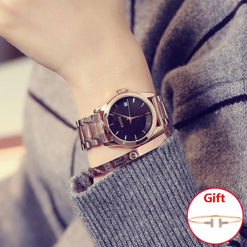 GUOU Damenuhr Top Marke Frauen Uhren Rose Gold Armband Uhr Edelstahl Auto Datum Uhr relogio feminino saat