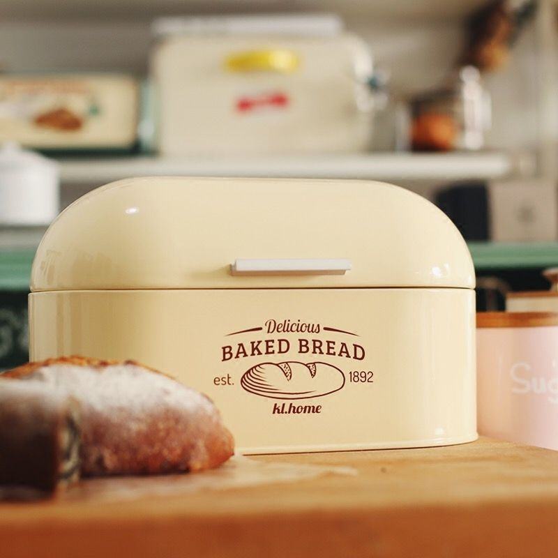 Bread Box Storage Fine Iron Food Storage Container Breakfast Continental Storage Food Snack Gifts Durable High-Quality33*21*18cm