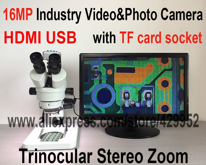16MP HDMI USB Camera Trinocular Stereo Continues Zoom 7-45X Microscope for Fix Repair iPhone PCB Electronic Tools