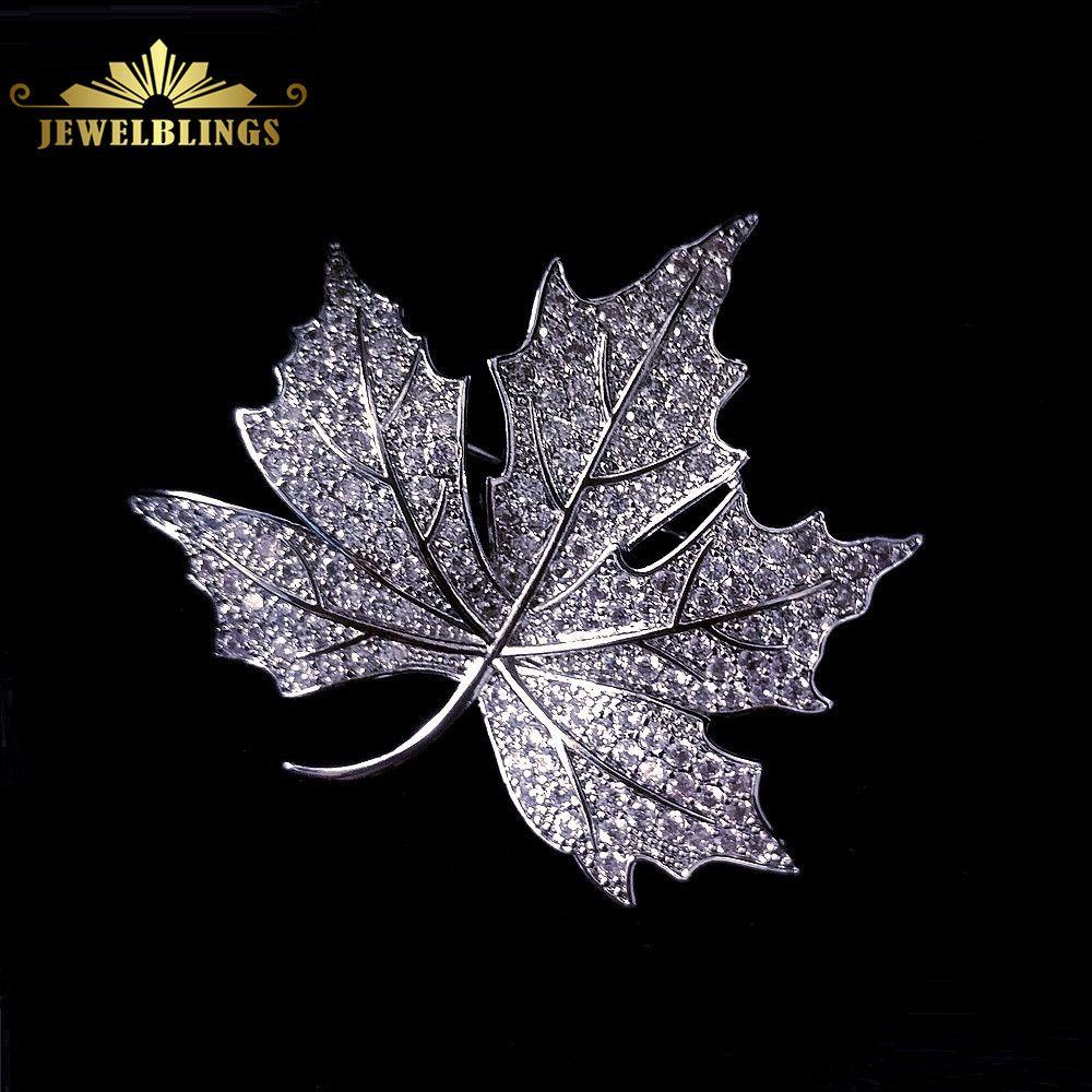 Reine Vintage Micro Pave CZ canadien érable feuille broches ton argent stylisé Style victorien feuille épingle Bling mère cadeau bijoux