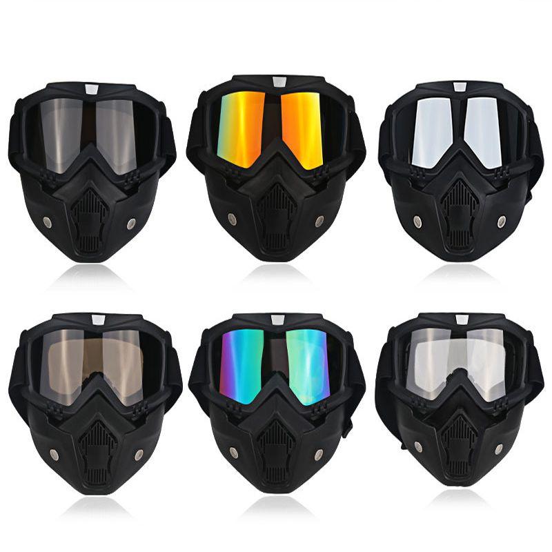 Ski Moto Masque Moitié Lunettes Casques Open Face Amovible Lunettes Motocross Moto Moteur Vintage Lunettes Universelle Noir