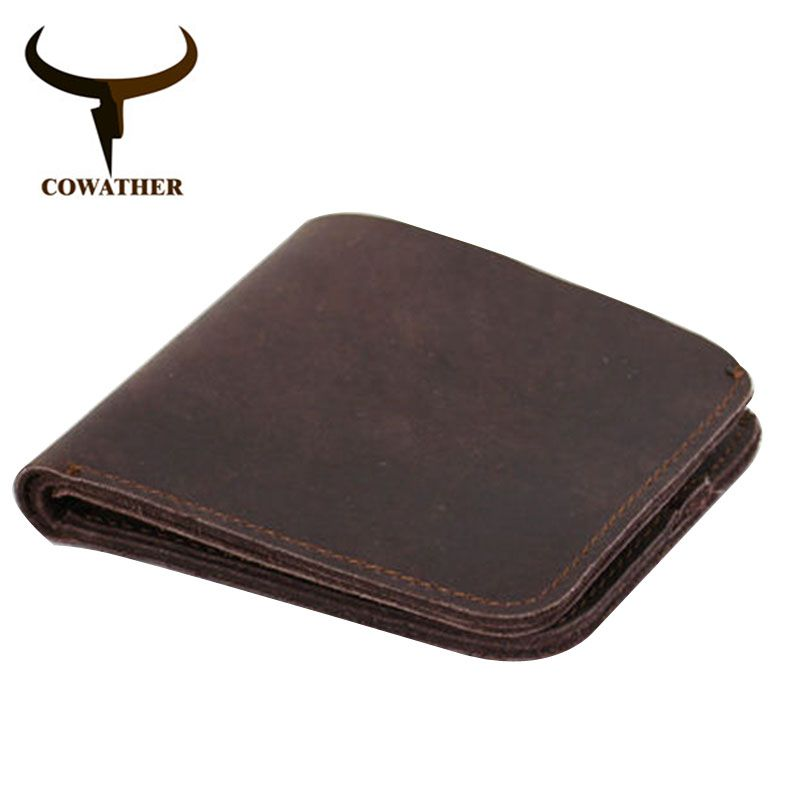 COWATHER 2017 Vintage cross style cow genuine leather wallets for men top high quality new craft handmade popular original brand