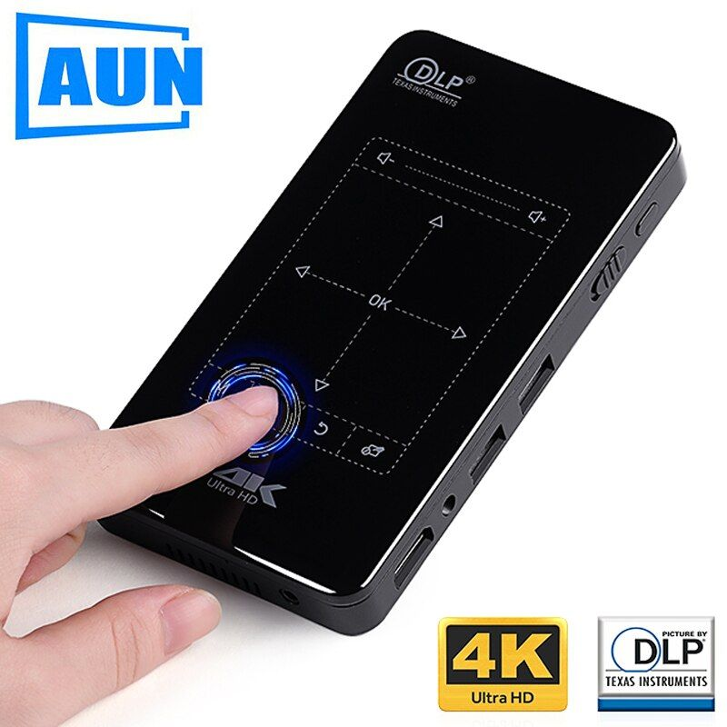 AUN MINI Projector. D7. Android Beamer, Built-in <font><b>WIFI</b></font>, Bluetooth, 4,000mAH Battery. HDMI. Support 4K, 1080P, Portable Theater