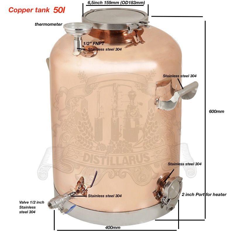 Kupfer Kessel, Tank für destillation 50l (13Gal). spiegel polieren.