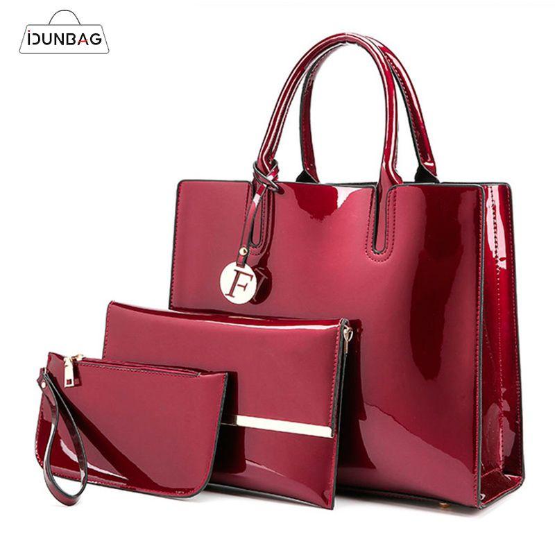 3 ensembles de haute qualité en cuir verni femmes sacs à main de luxe marques fourre-tout + sac à bandoulière dames + pochette Messenger Bolsa Feminina