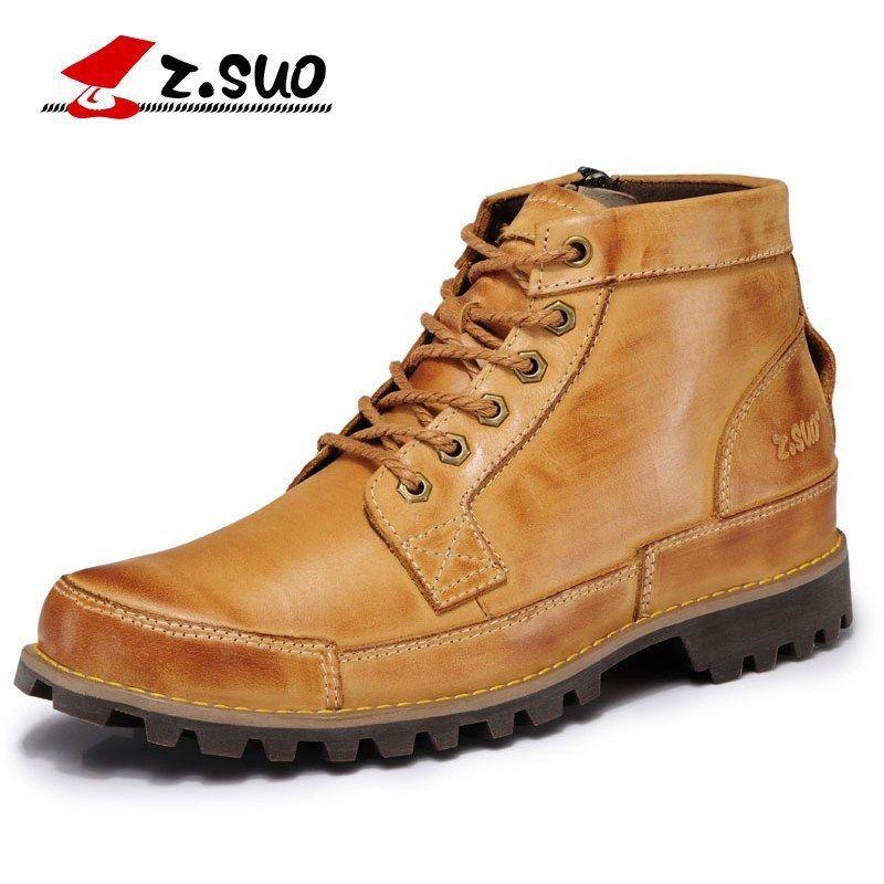 Z. Suo Mode Hiver hommes chaussures bottes En Cuir Véritable Dentelle-Up Respirant/Confortable de Style Britannique Hommes Casual Martin bottes