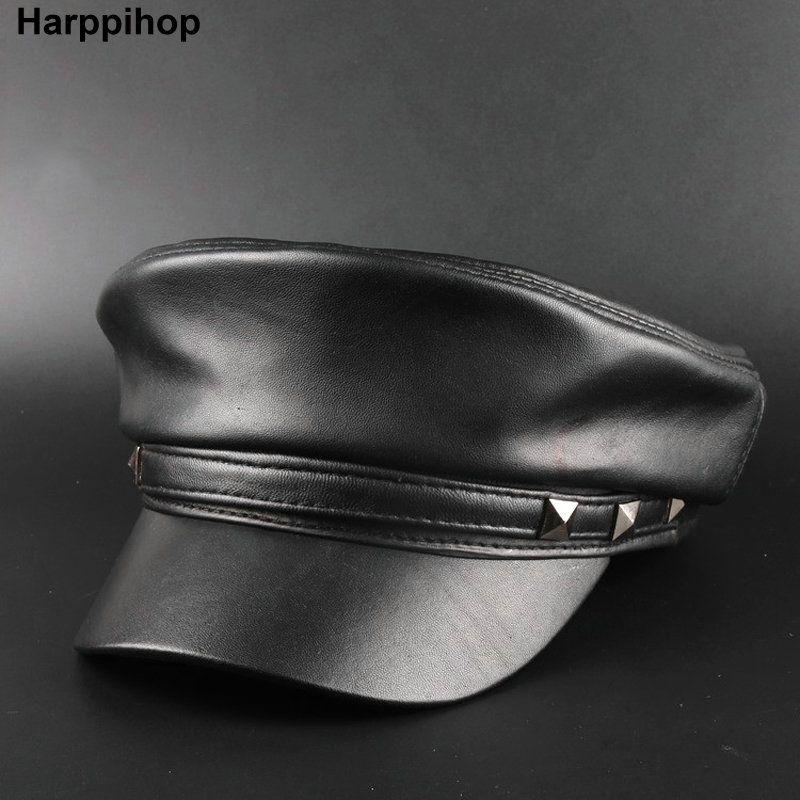 Harppihop*2017 Spring Sheepskin Hats Genuine Leather Casual Thermal Men Military Hat Short Brim Cadet Adult Cap Women