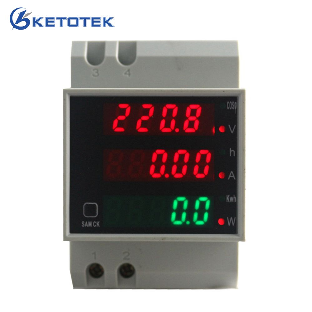 Din rail LED voltage ampere active power power factor time Energy voltage current meter AC 220V 380V 0-100.0A ammeter voltmeter