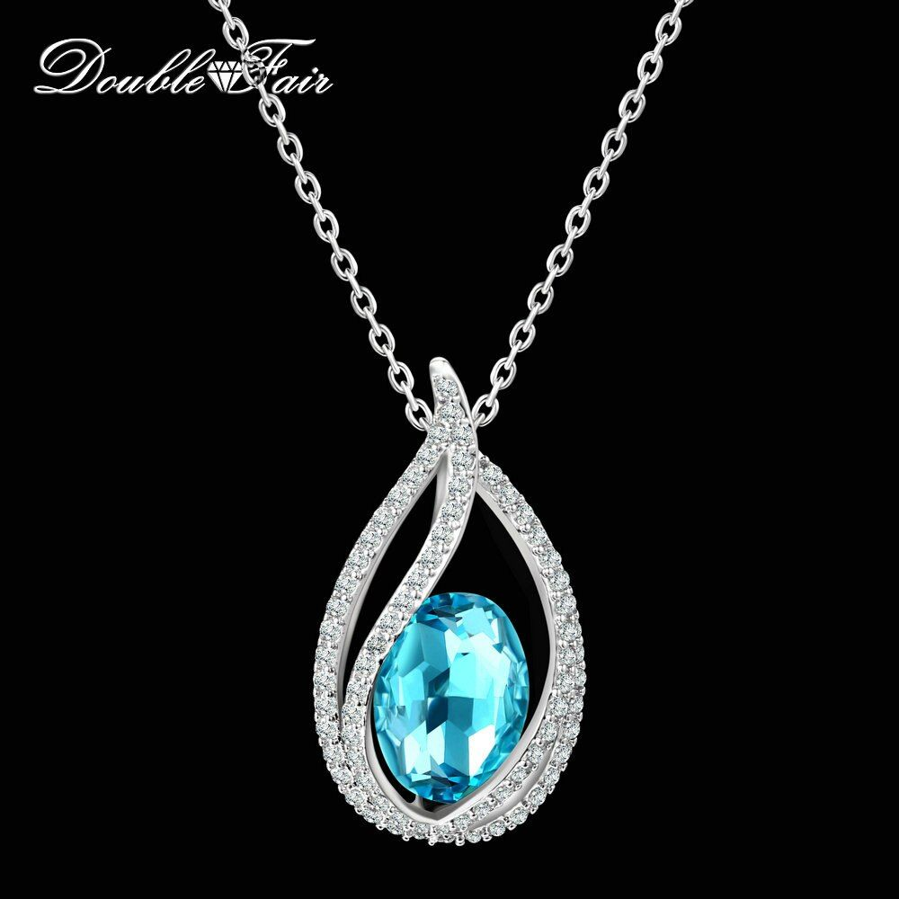 Double Fair Unique Cubic Zirconia Big Blue Crystal Necklace & Pendants Silver Color Elegant Wedding Jewelry For Women DFN292