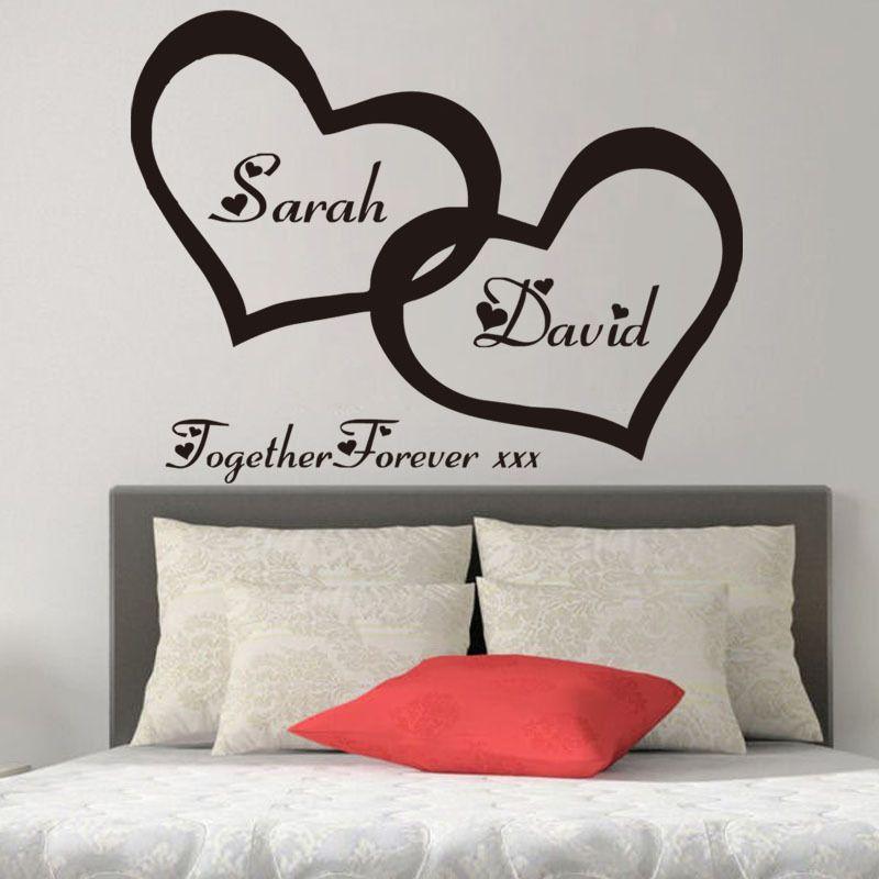 ZN G255 Coeurs Personnalisé Personnalisé Couple Nom Vinyle Art Wall Sticker Decal Pour Chambre Couple Romantique pour La Décoration intérieure Murale