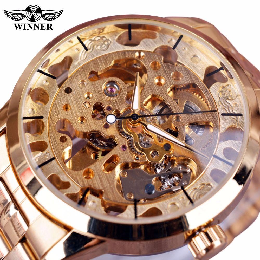 Winner Fashion Casual Mens Watches Top Brand Luxury Automatic Skeleton Watch Clock Men Montre Homme Men Wristwatch Gold Watches