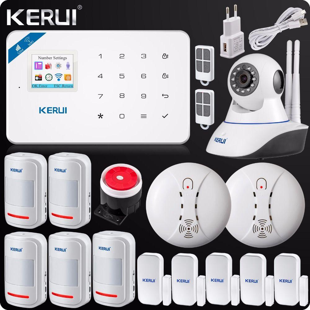 2018 W18 WIFI GSM SMS Burglar LCD Touch Screen Alarm Panel Home Security Alarm System+Wireless Smoke Detector+N62 Wifi IP Camera