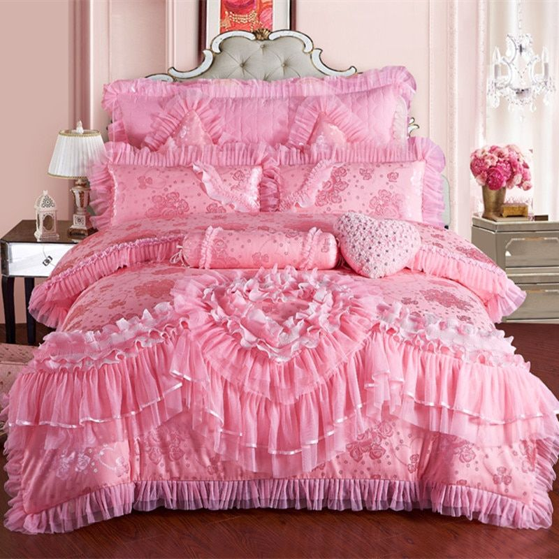 IvaRose New Silk Cotton satin Luxury Jacquard wedding Beding Set lace Love is forever Duvet cover BedSpread set Queen King 4/6/9