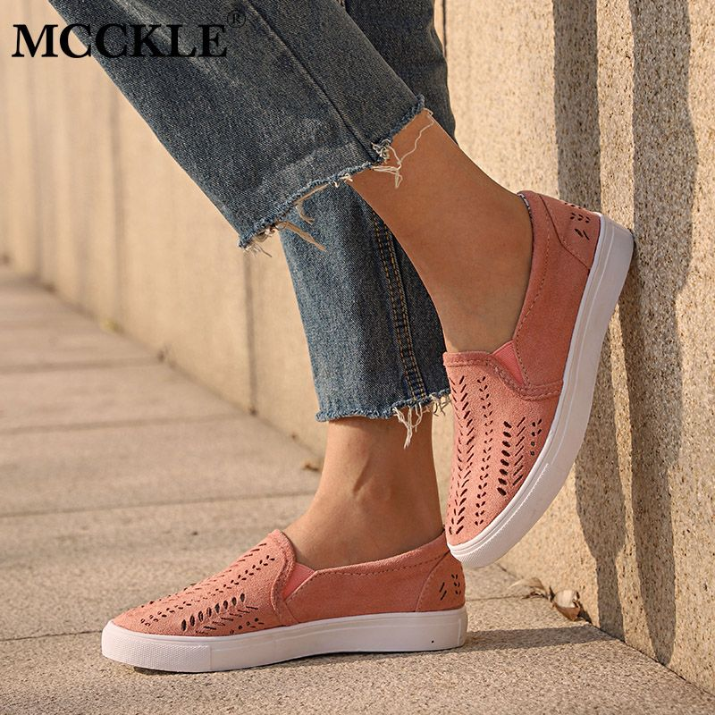 MCCKLE Women Cut-outs Elastic <font><b>Band</b></font> Vulcanized Shoes Female Flock Slip-on Shallow Breathable Flat Casual Shoes Woman Plus Size