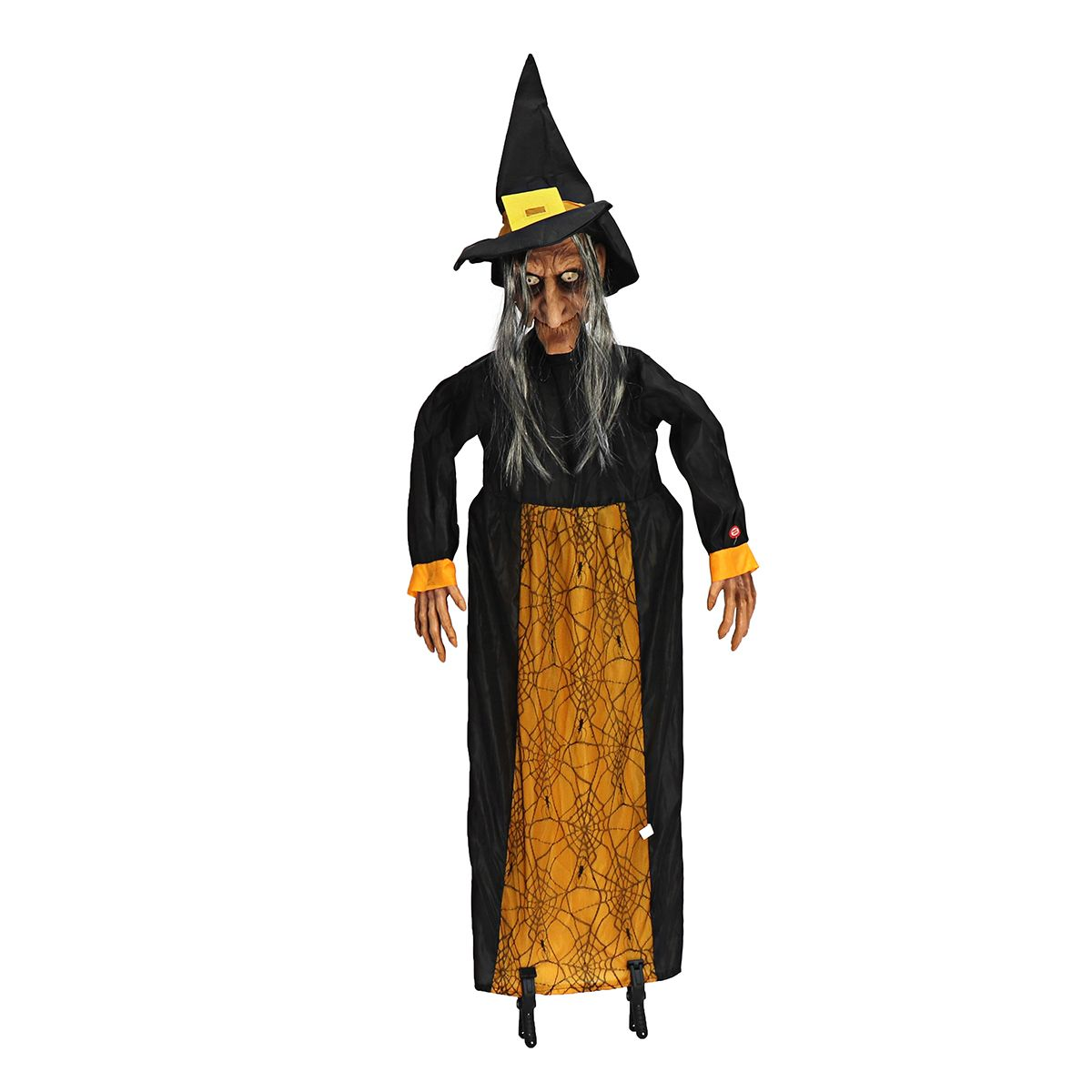 145cm Halloween Prop Electric Voice Control Ghost Fun Animated Speaking Witch Glowing Red Eyes Hanging Halloween Decoration Prop