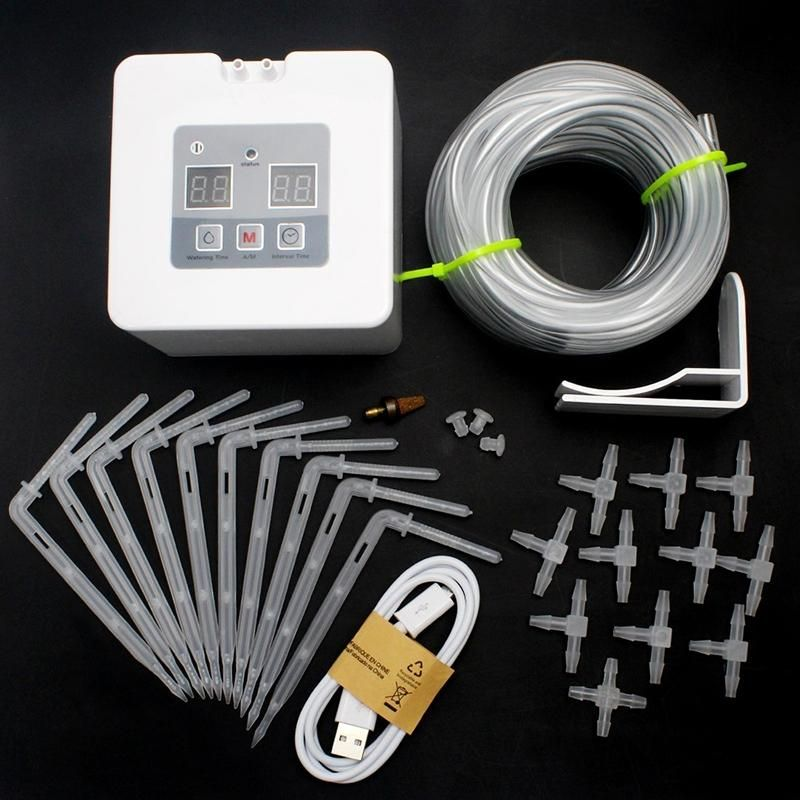 LanLan DIY Micro Automatic Drip Irrigation Kit Self Watering System with 30-Day Timer and USB Charging