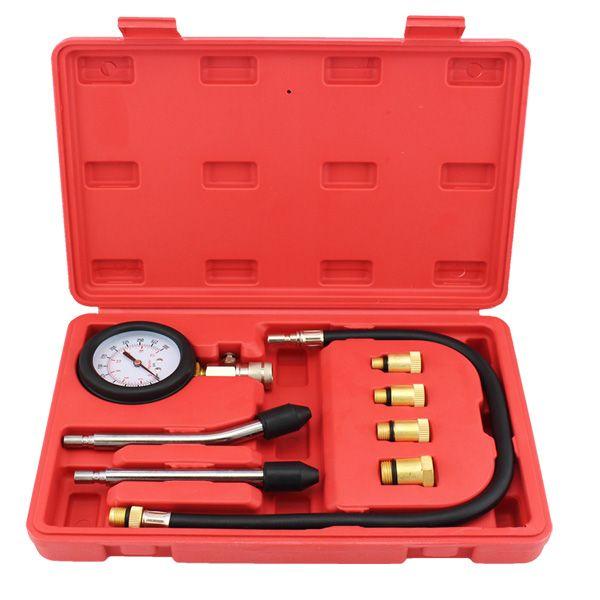 9 PCS Petrol Gas <font><b>Engine</b></font> Cylinder Compressor Gauge Meter Test Pressure Compression Tester Leakage Diagnostic