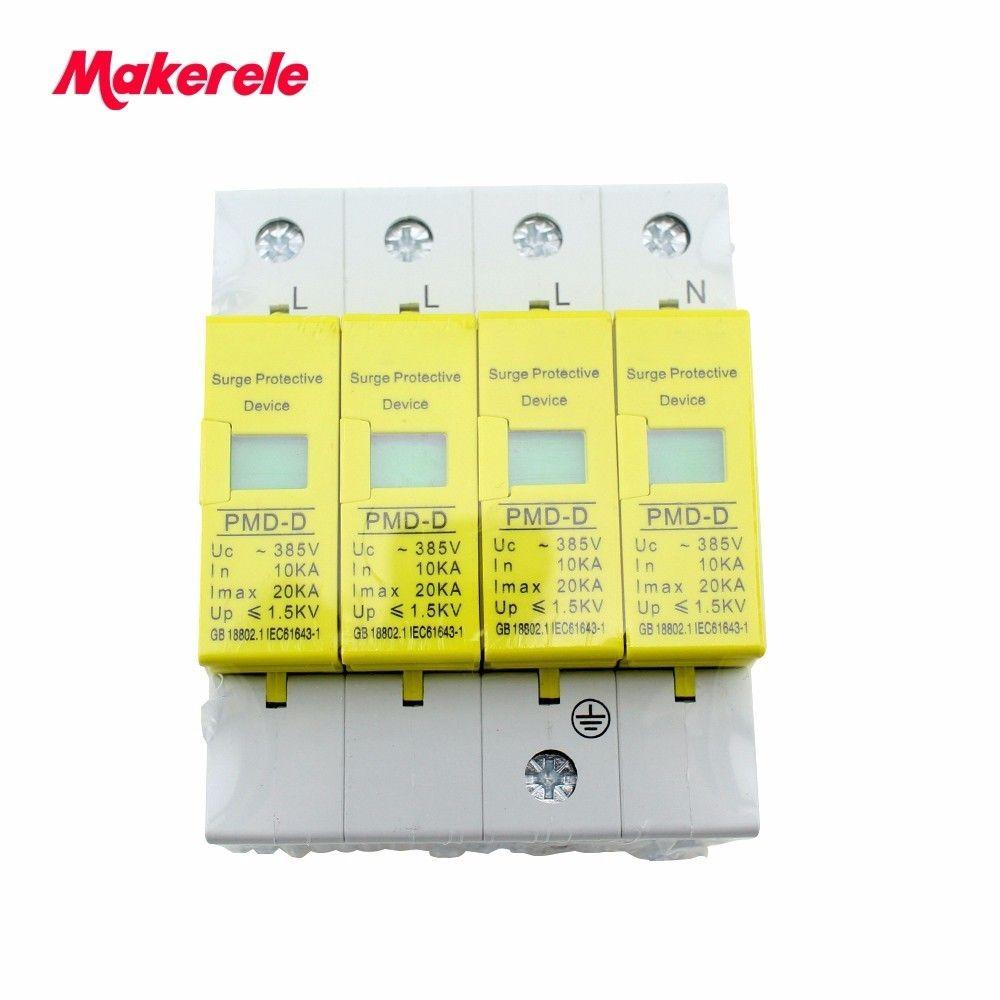 House Surge Protector Protective Low-voltage Arrester Device high quality SPD 4P 10KA~20KA ~385VAC makerele