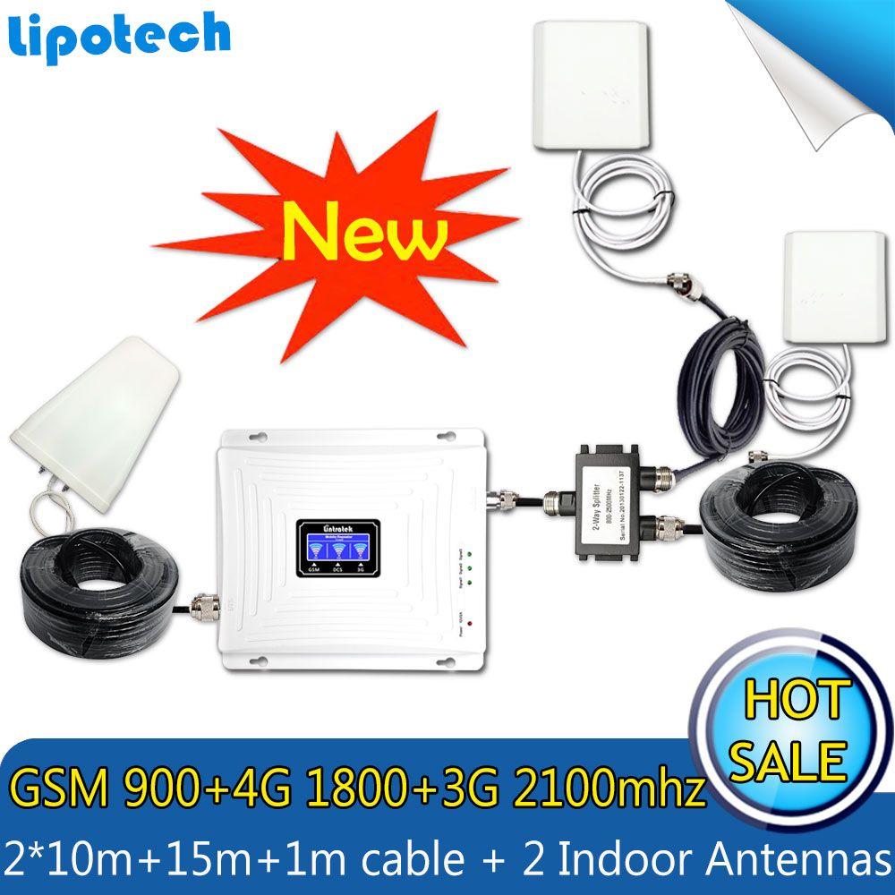 Mit 2 Antennen Lintratek Set Tri-band Repeater 2G 3G 4G 900 1800 2100 MHz Mobile Handy-signal-zusatzverstärker Cellular Signal
