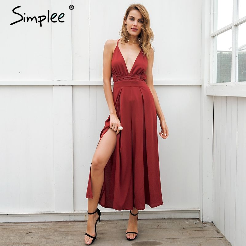 Simplee Sexy v neck backless print jumpsuit romper women Lace up halter high waist short overalls Split <font><b>wide</b></font> leg summer jumpsuit