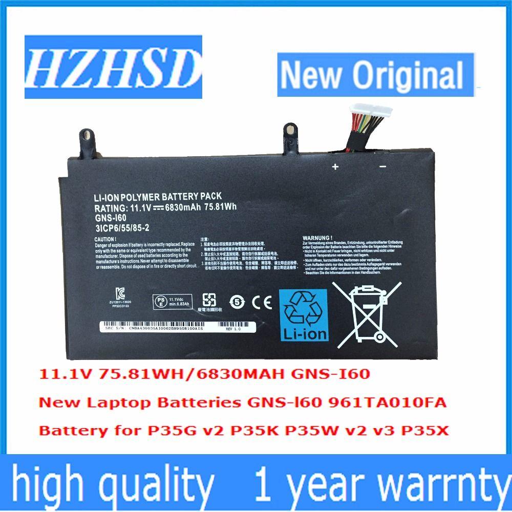 11,1 V 6830 mAh 75.81Wh neue Original GNS-I60 Laptop Akku für GIGABYTE 961TAO10FA P35K P37X P57X 31CP6/55/85-2 GNS-I60