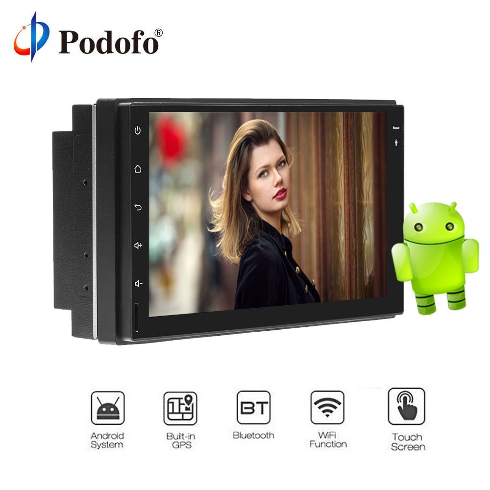 Podofo Android8.0 7'' Touch Car Radio Player GPS Navigation Universal 2 Din WiFi Bluetooth HD Radio Stereo Car Multimedia Player