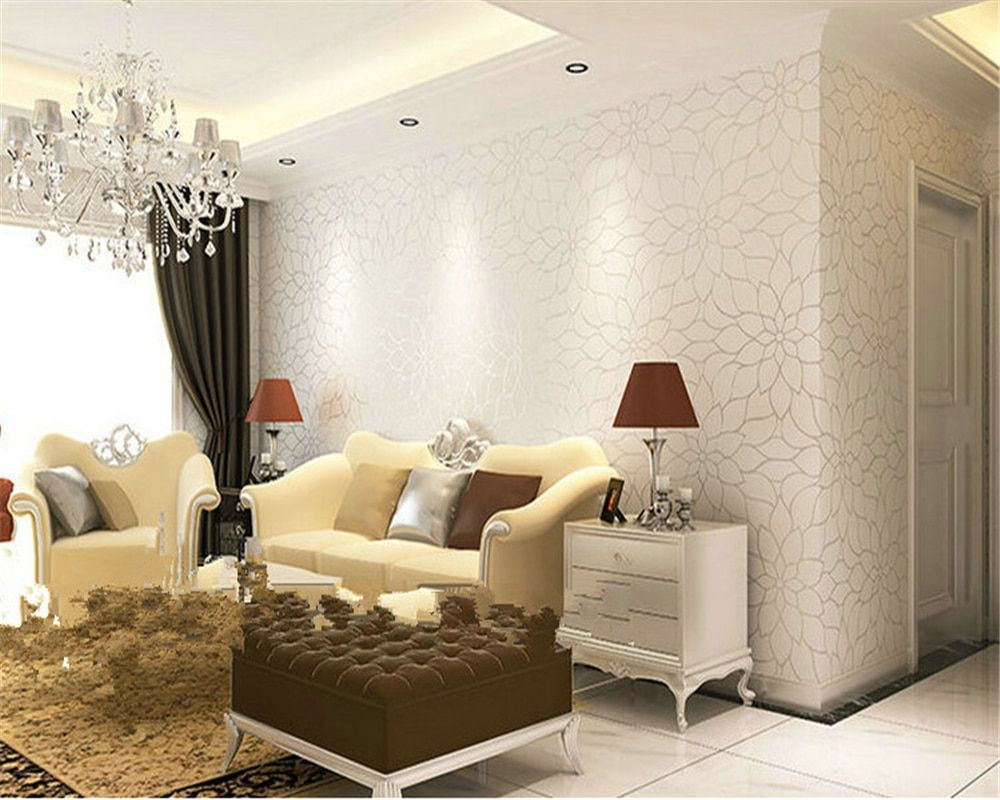 beibehang papel de parede Modern simple lotus non woven wall paper warm living room TV background wallpaper 3d wallpaper tapety