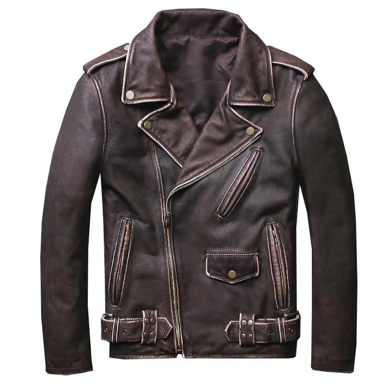HARLEY DAMSON Vintage Brown Men's Short Biker Leather Jacket Plus Size 5XL Genuine Cowhide Slim Fit Motorcycle Leather Coat