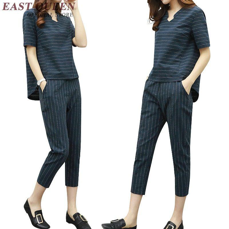 Pantalones de lino para las mujeres señoras trajes pantalón elegante rayas mujeres pantsuit KK1400 H