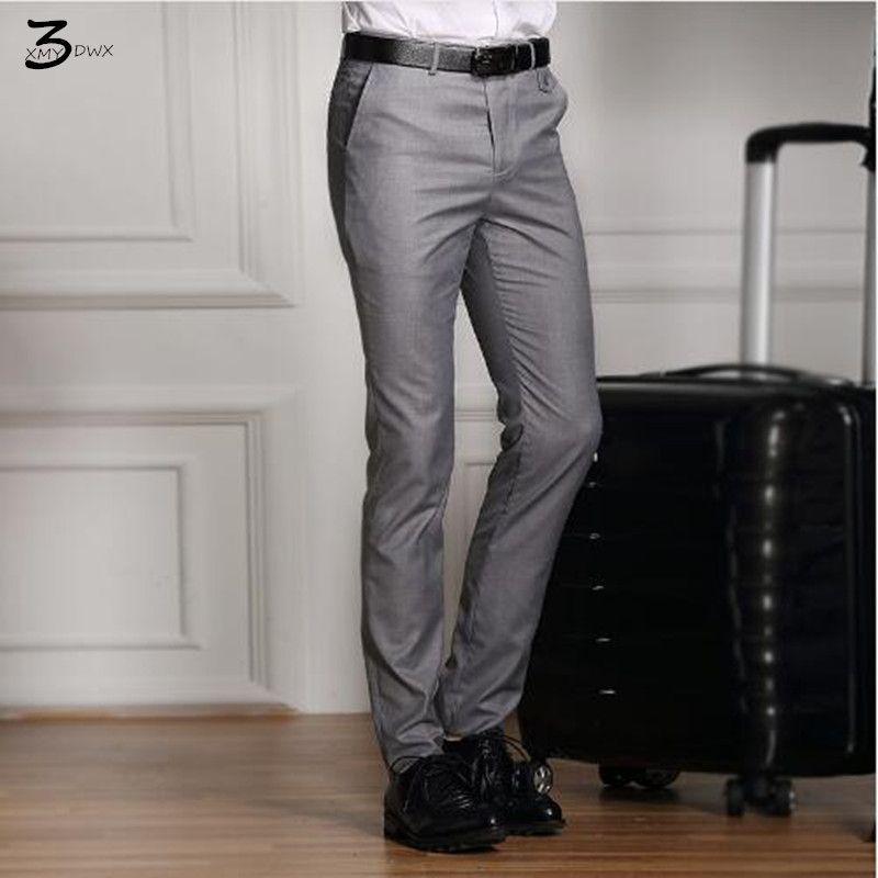 XMY3DWX Hombres Pantalones de Traje Formal de La Boda del color Puro Delgado Casual Brand Pantalones de Vestir de Negocios Blazer Recta Masculina de alta calidad
