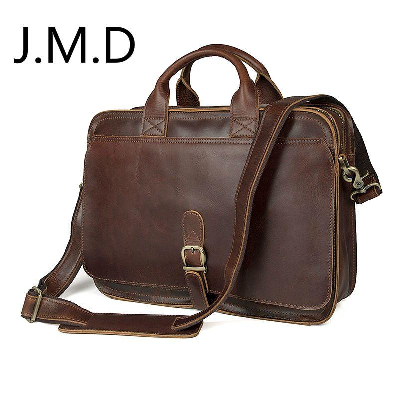 J.M.D 100% Men's Fashion Leather Bag Crazy Horse Leather Cross Body Briefcase Sling Bag Shoulder Messenger Bag 6020