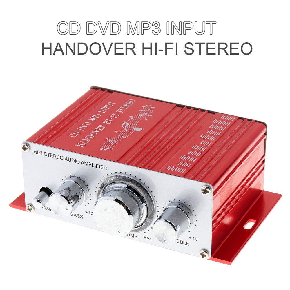 Remise 12 V voiture amplificateur moto maison bateau Auto stéréo Audio amplificateur 2 canaux numérique Hi-Fi Amp Support CD DVD MP3 entrée