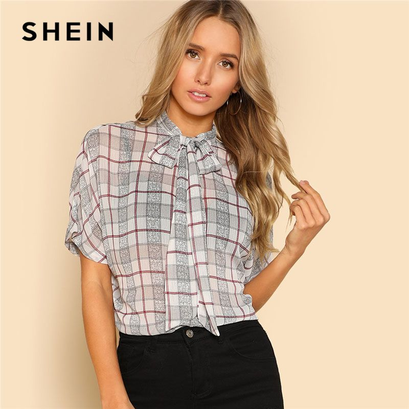 SHEIN Tie Neck Bow Plaid Dolman Blouse Women Clothing Stand Collar Batwing Sleeve Casual Top 2018 Summer Short Sleeve Blouse