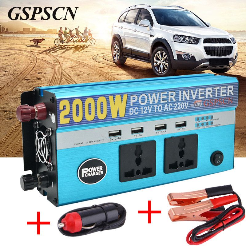Car Adapter Power Inverter 12V 24V To 220V Vehicle Converter with 4 USB and 2 Plug Car Multifunction Transformer Fit below 800W