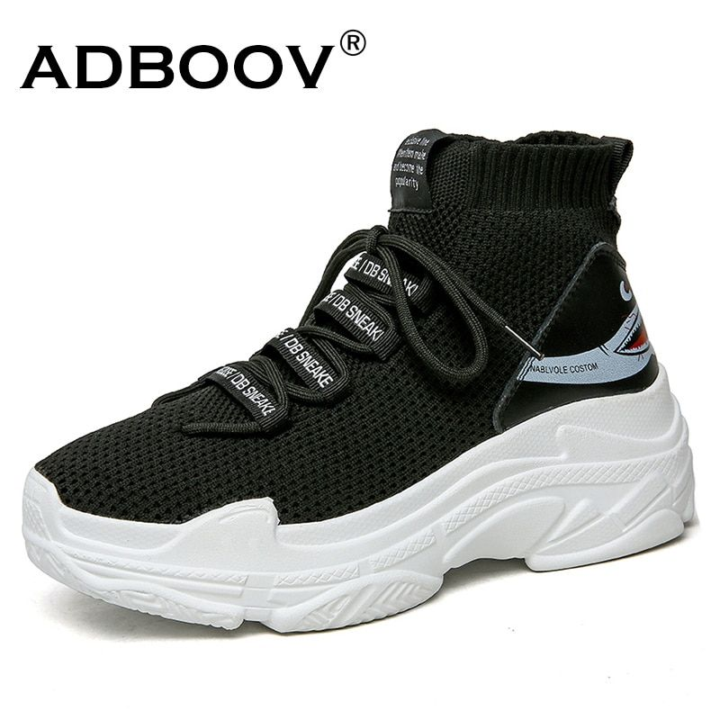 ADBOOV Shark Logo High Top Sneakers Women Knit <font><b>Upper</b></font> Breathable Sock Shoes Thick Sole 5 CM Fashion sapato feminino Black / White